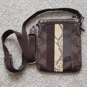 COACH Brown Snakeskin/Suede Crossbody Handbag